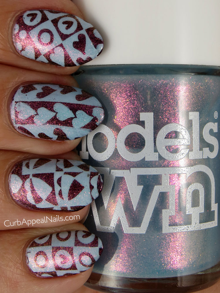 Lancome Flirty Red and Model's Own Indian Ocean with Heart Stamping