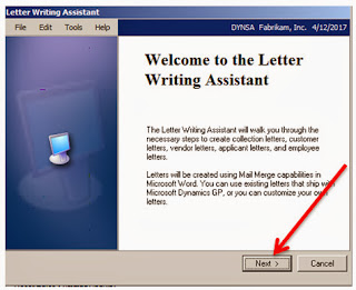 Welcome to Letter Writing Assistant Wizard in Microsoft GP