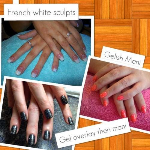 Today's apps from sculpts to a Gelish polish manicure on natural nails, Gel backfill followed by a Gelish polish manicure in 'twinkle black'.