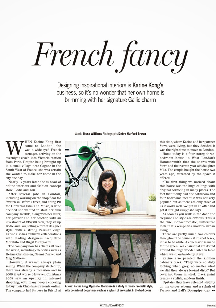 Karine Kong's home, Founder of BODIE and FOU in Scotland on Sunday