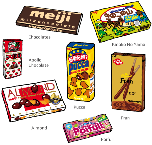 Chocolate, Apollo Chocolate, Pucca, Almond, Kinoko No Yama, Fran, Poifull