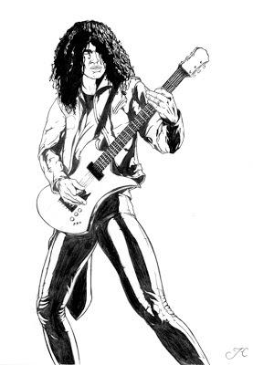 Slash tocando guitarra desenho