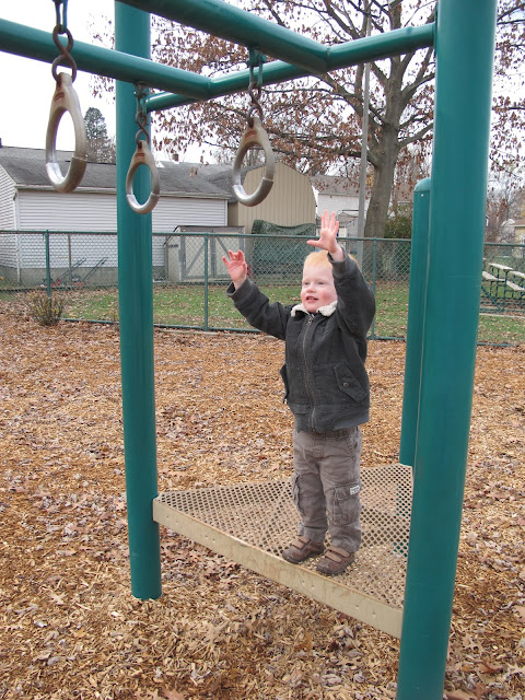 Porter Reaching for Hanging Monkey Bars