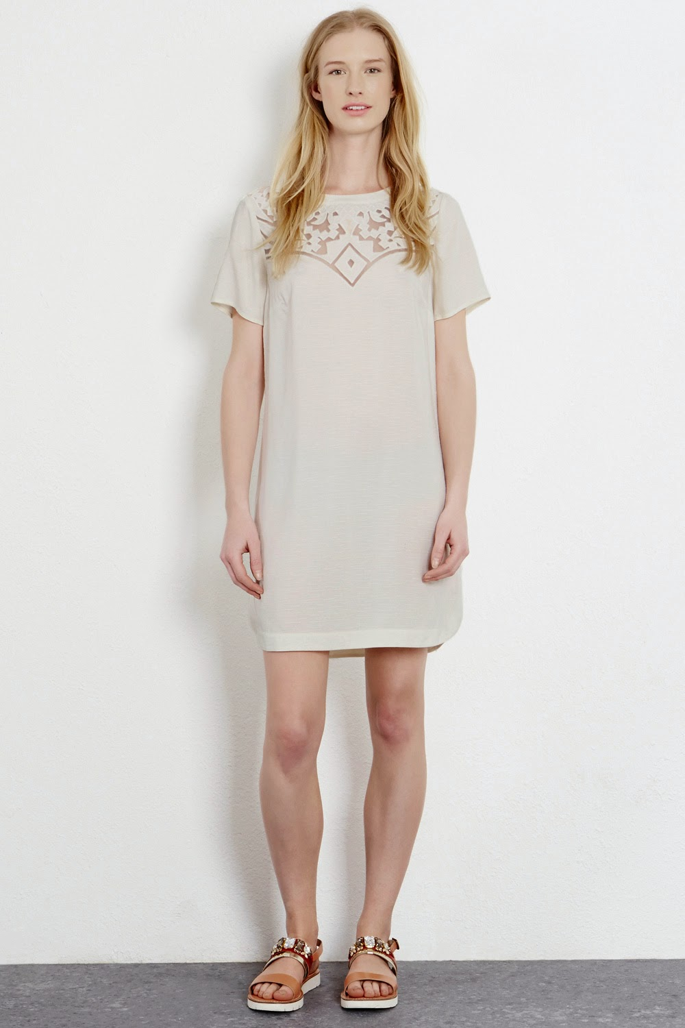 warehouse cream detail dress