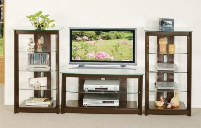 tv stand and decorative shelves