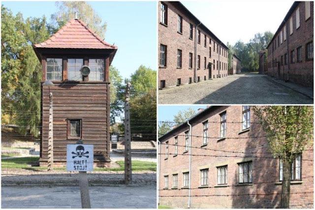 Torre de vigilancia y edificios en el campo de concentración de Auschwitz I