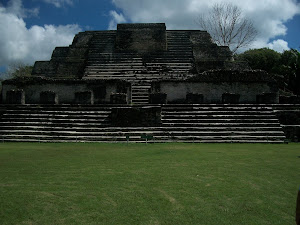 Front view of the temple at Altun Ha