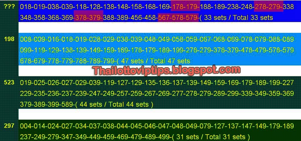 Thai lotto Rumble sets for 16-06-2014