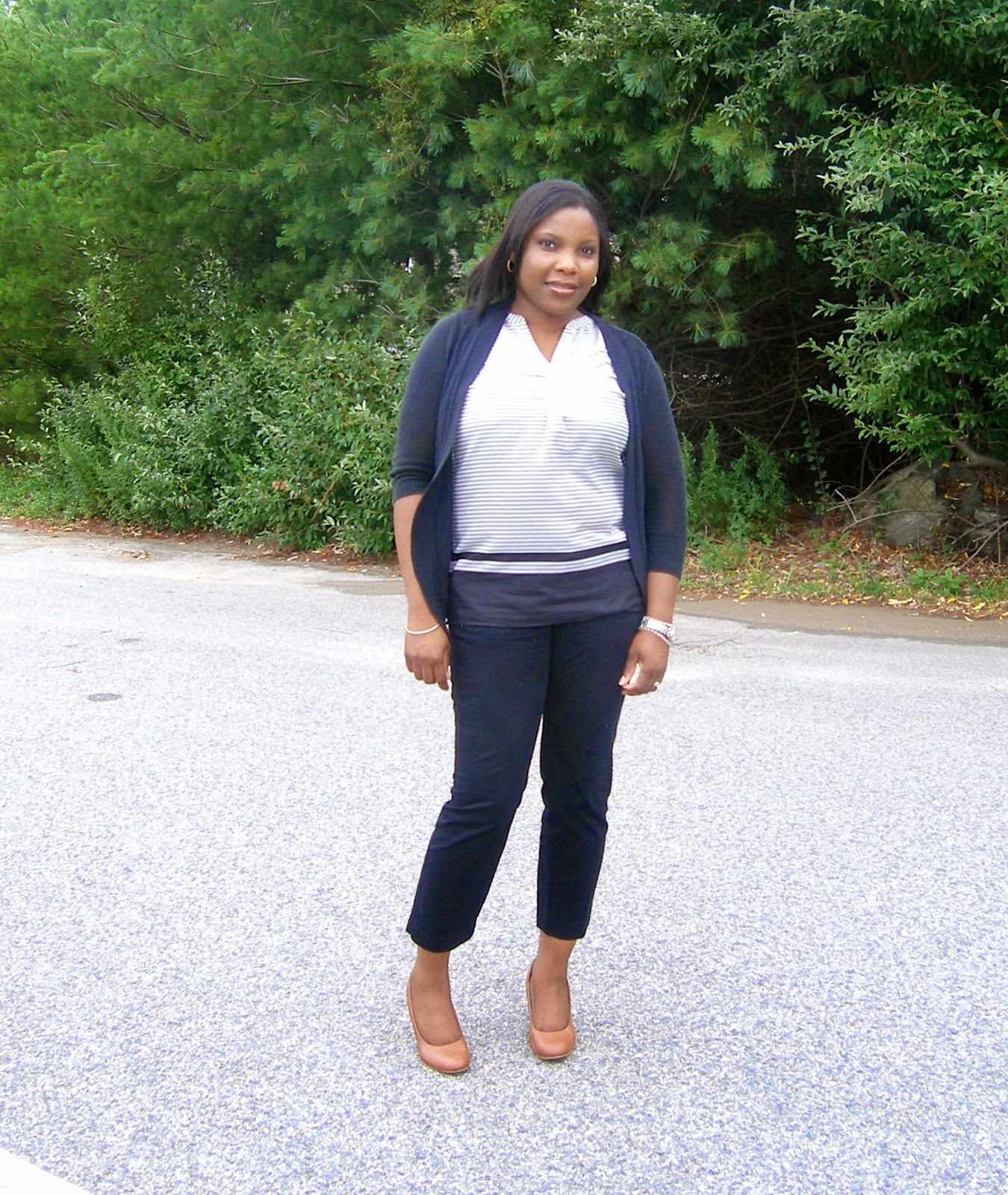 Black Cropped pants Old navy, Payless wedges, Layered sleevesless blouse