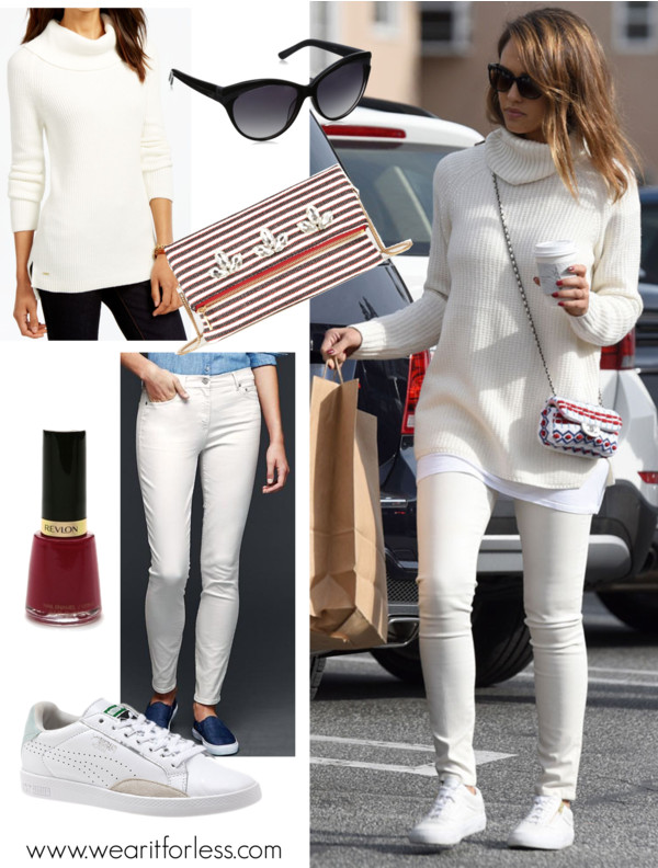 Jessica Alba, celebrity street style, celebrity wearing all white, casual outfit idea for winter