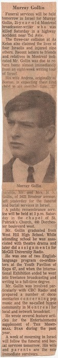 Murray Gollin, obituary in Montreal paper, 1968.