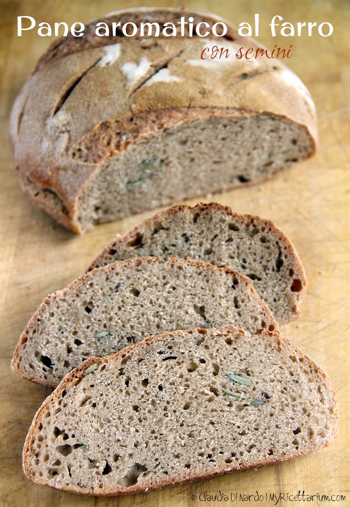 Pane aromatico integrale di farro con semini