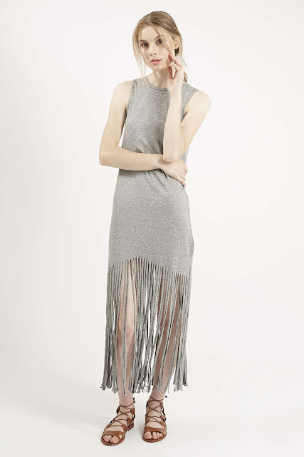 grey fringe dress, grey maxi fringe dress grey tassel dress,