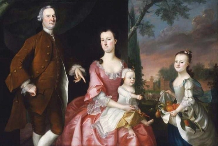 National art gallery paintings of 18th century american families 1755 joseph blackburn american colonial era artist fl 1753 1763 isaac winslow and his family sciox Images