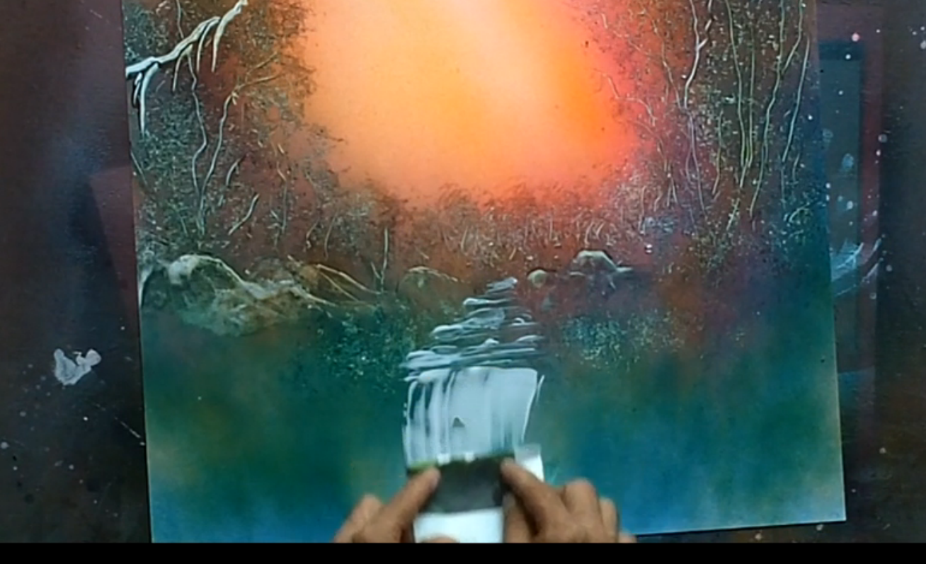 how to spray paint waterfall paintings spray painting