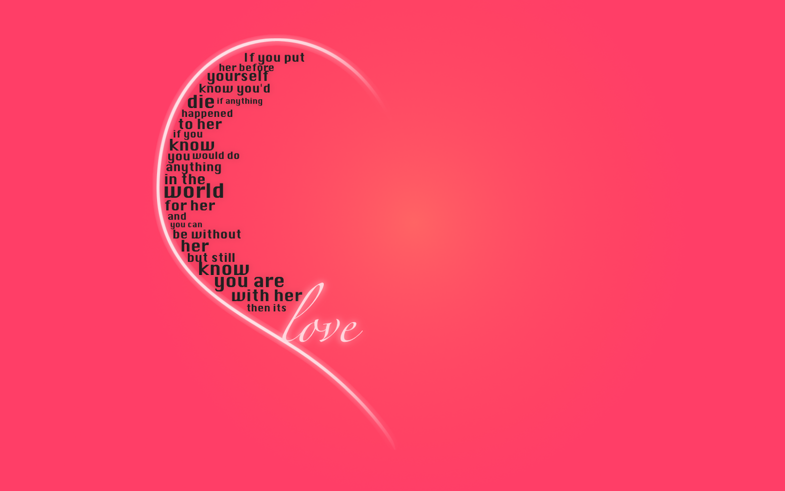 Love note on a heart shape with pink background