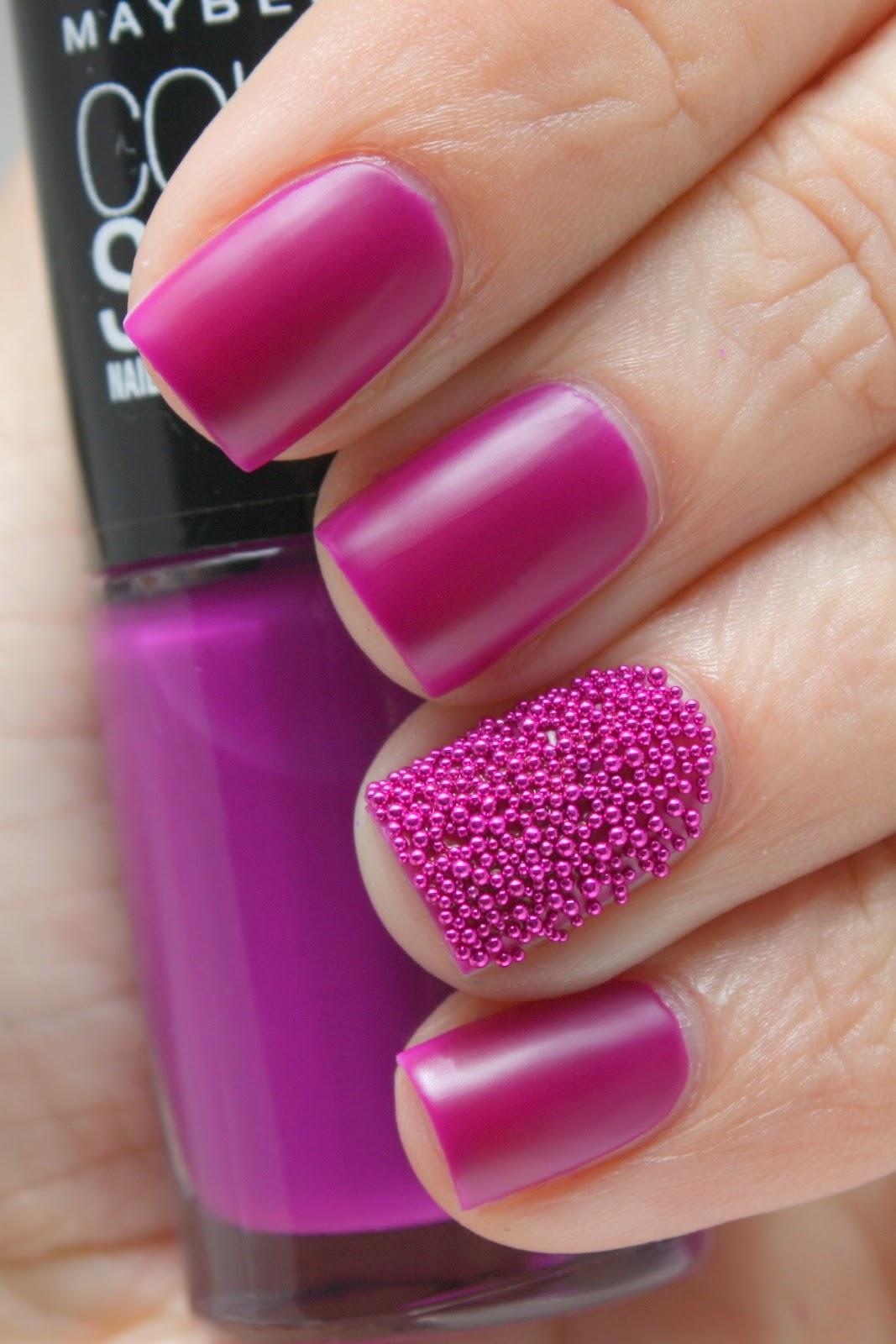 Grape Fizz Nails: Fuchsia Fever Maybelline Microbeads Mani