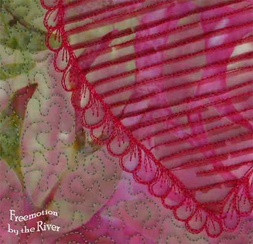 closeup of quilted stencil
