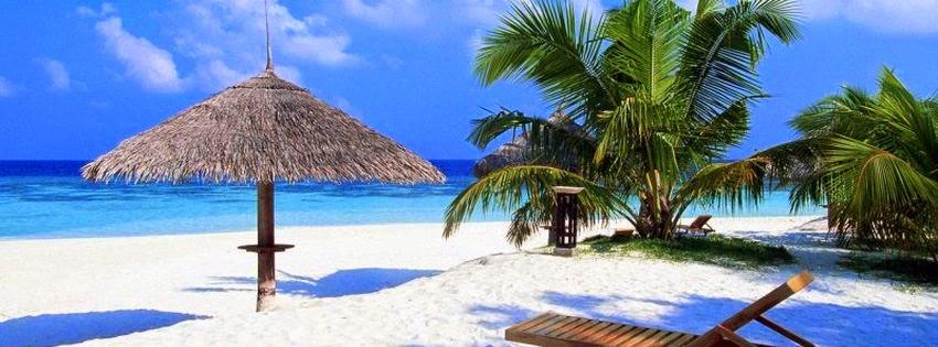Couverture facebook paradis avec plage tropicale