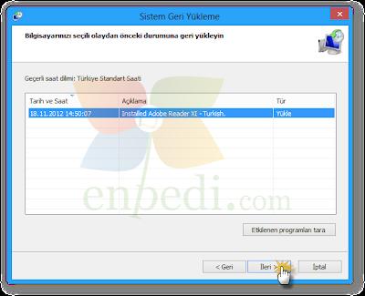 enpedi 15 10 44 Windows 8 Sistem Geri Yükleme Nasıl Yapılır