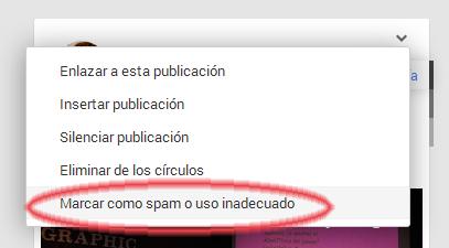 Cualquier usuario puede marcar una publicación como spam