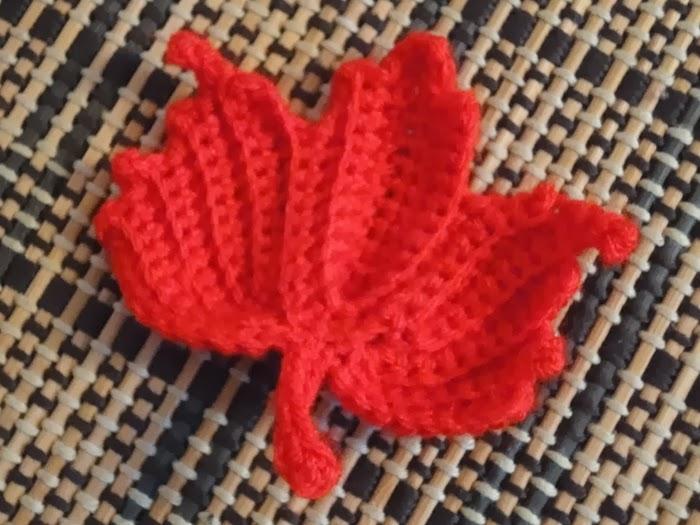 Paper Wool Yarn Pinspired Crochet Maple Leaf