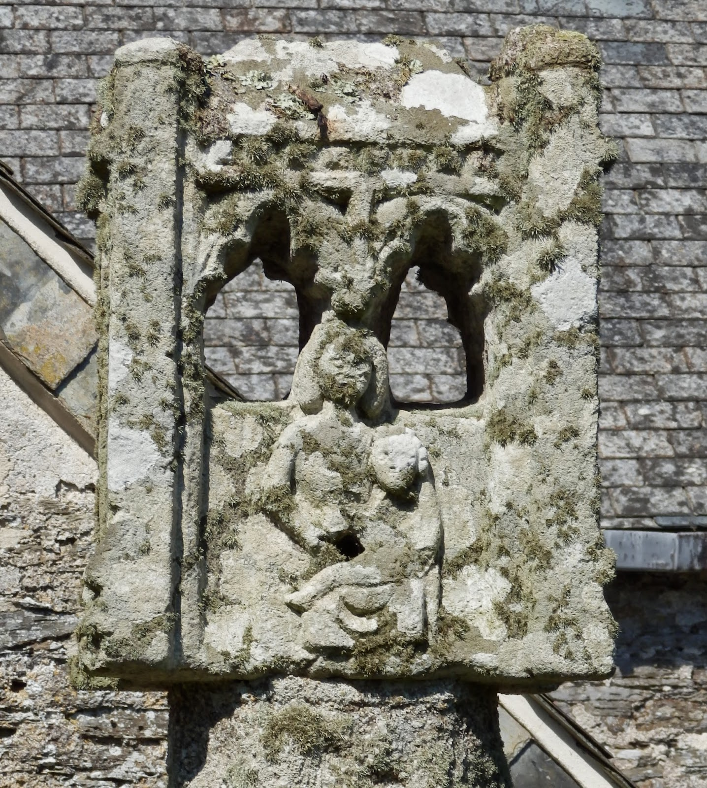 Old stone cross at Lanteglos, Cornwall