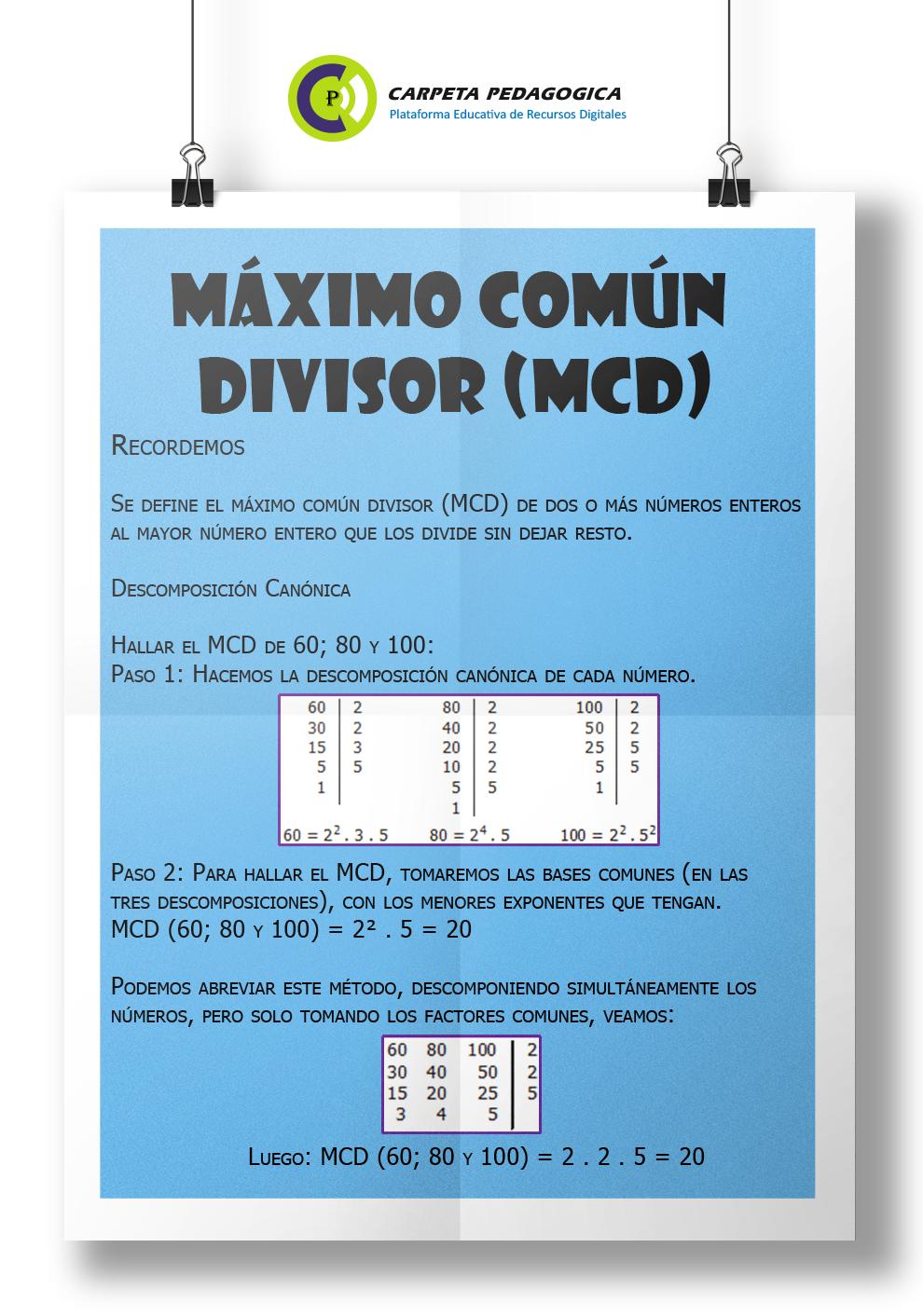 Definición Máximo Común Divisor (MCD)