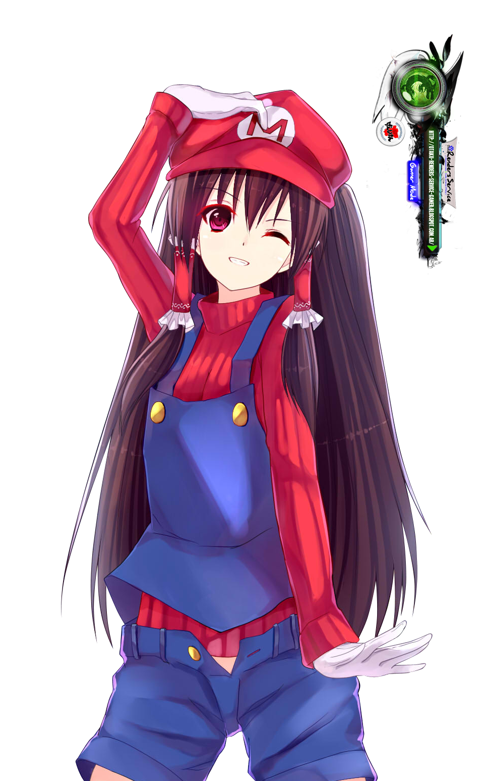 touhou project hakurei reimu cute mario cosplay render