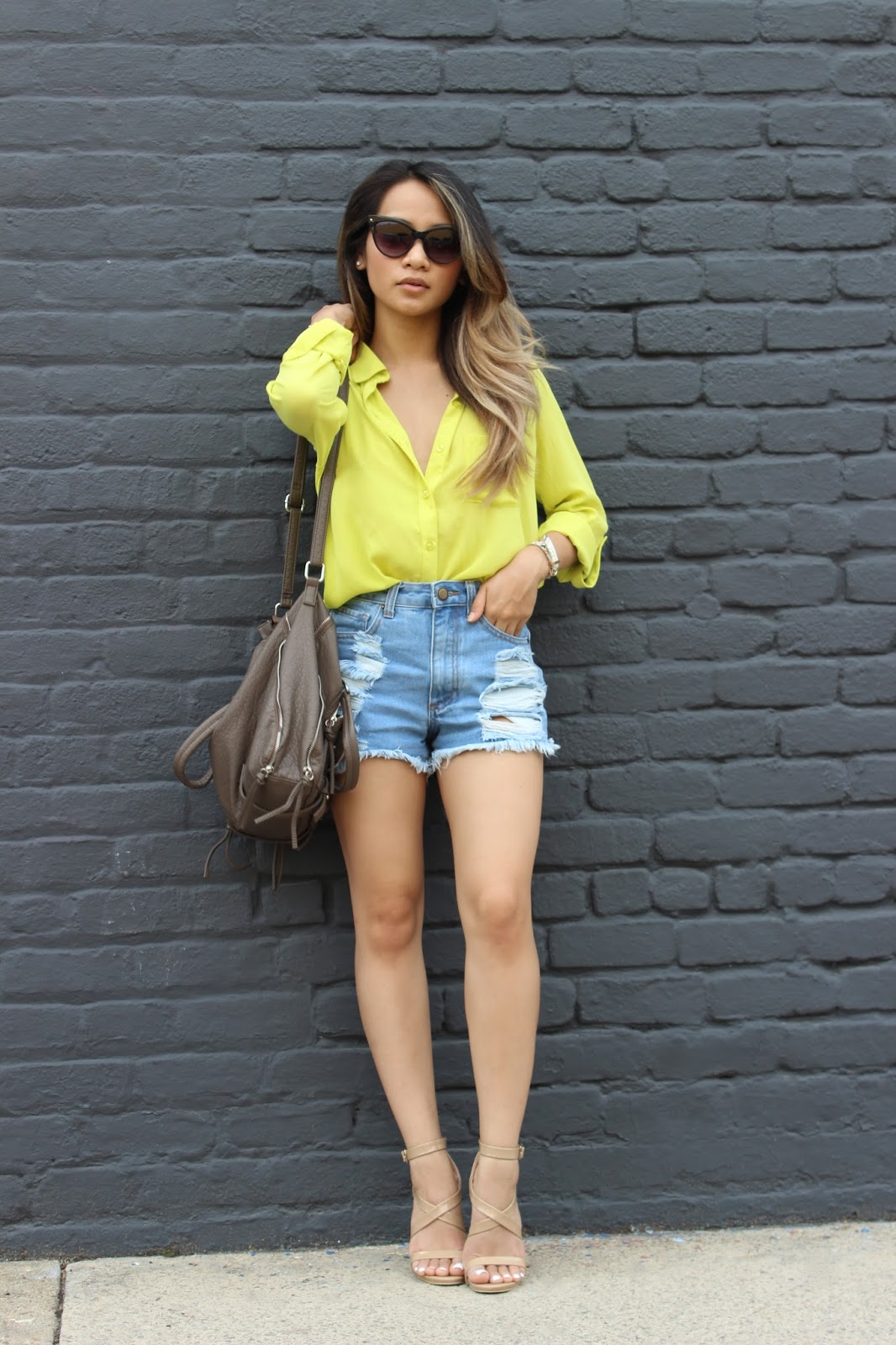 boyfriend shorts, melba nguyen, celine sunglasses, forever21 nude heels, ombre hair, fall fashion, sole trekking, new york fashion week,