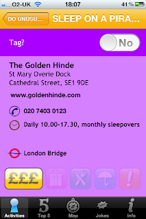 London Unlocked iPhone / iPad App and Guide Book, activity information