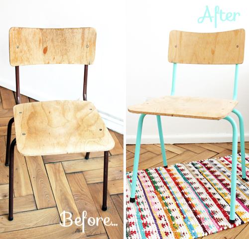 Mumu zuzu diy relooker une chaise en bois et m tal - Relooker chaise en bois ...