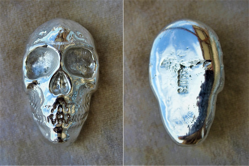 Hand Made Fine Silver Skull $40  Contact me first before placing an international order.