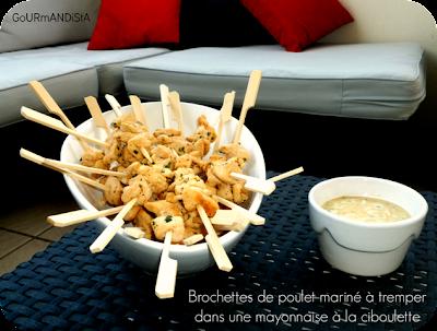 image Minis brochettes de poulet marinés et sa mayonnaise à la ciboulette