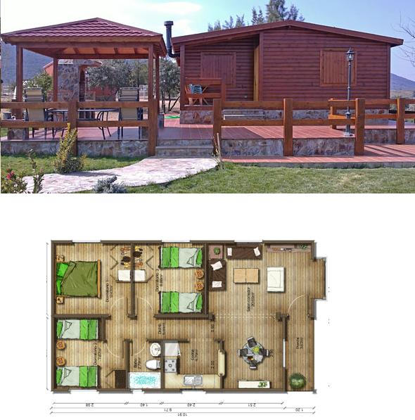 Casas de madera en espa a plano de casa de madera de 68 m2 - Planos de casas en espana ...