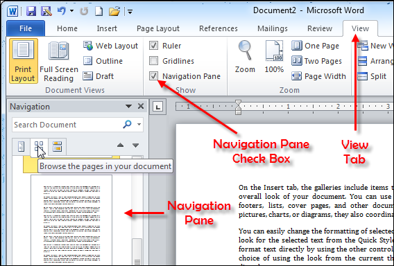 how to create navigation tabs in word 2010