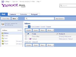 Tampilan Email Yahoo Clasic