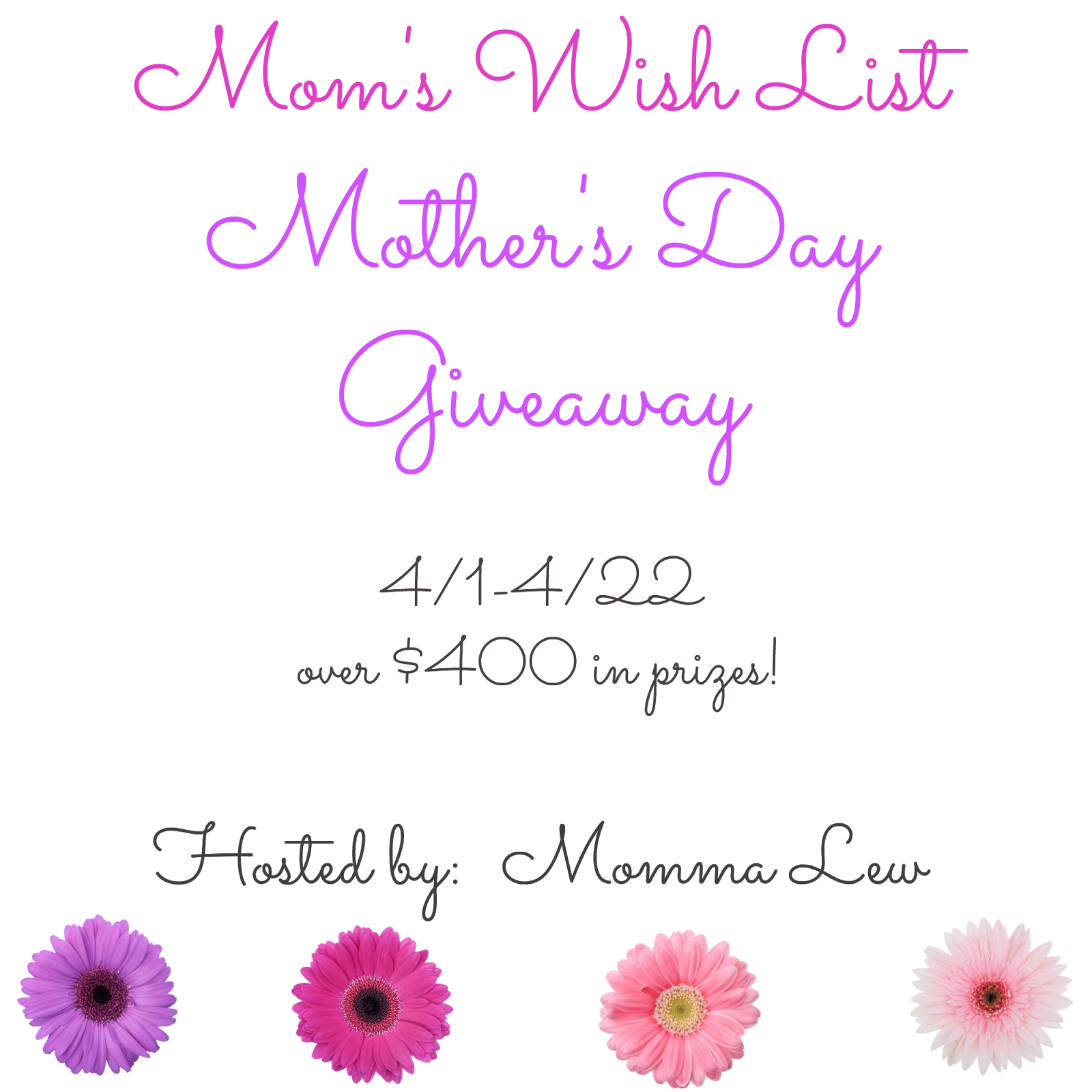 Mom blog giveaways with few entries