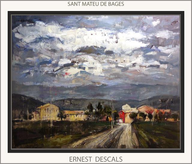 SANT MATEU DE BAGES-PINTURA-PAISATGES-CATALUNYA-CUADROS-GRAN FORMATO-ATISTA-PINTOR-ERNEST DESCALS-
