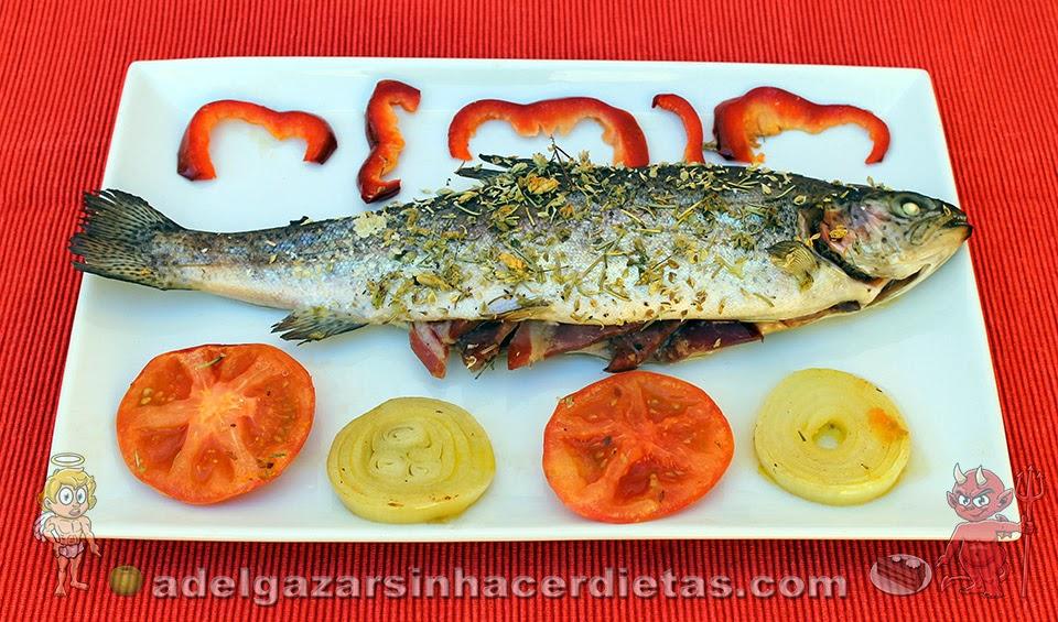 Receta saludable de Trucha con jamón al horno bajo en calorías, apta para diabéticos y baja en colesterol.