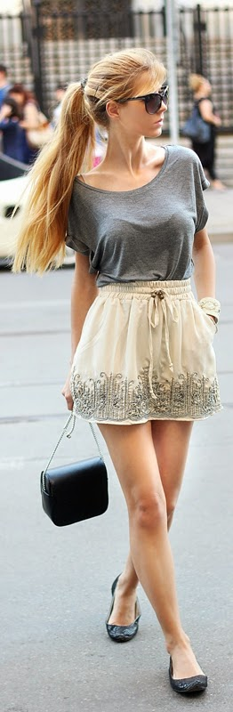 Embellished Mini Skirt with Grey Tee shirt | Chic Summer Outfits