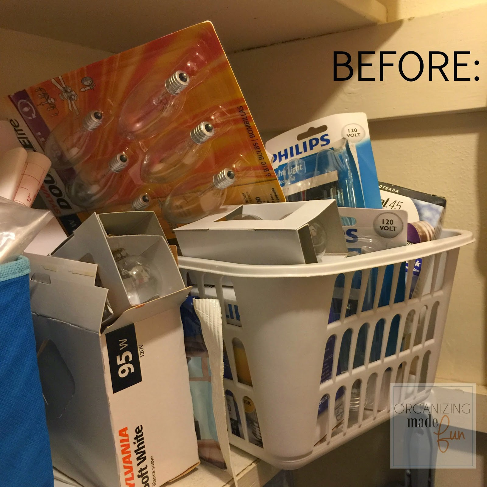 Lightbulbs in a utility closet spilling all over :: OrganizingMadeFun.com