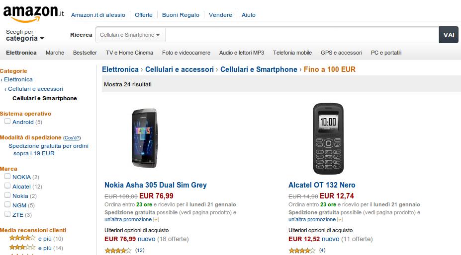 Il blog di alessio fasano amazon italia cellulari e for Amazon offerte cellulari
