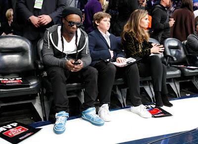 Imagen de Lil Wayne en el partido de las estrellas de la NBA 2011