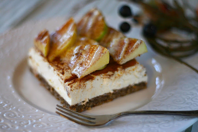 Healthy Apple Pie Cheesecake with Maple-Nutmeg Drizzle - Desserts with Benefits