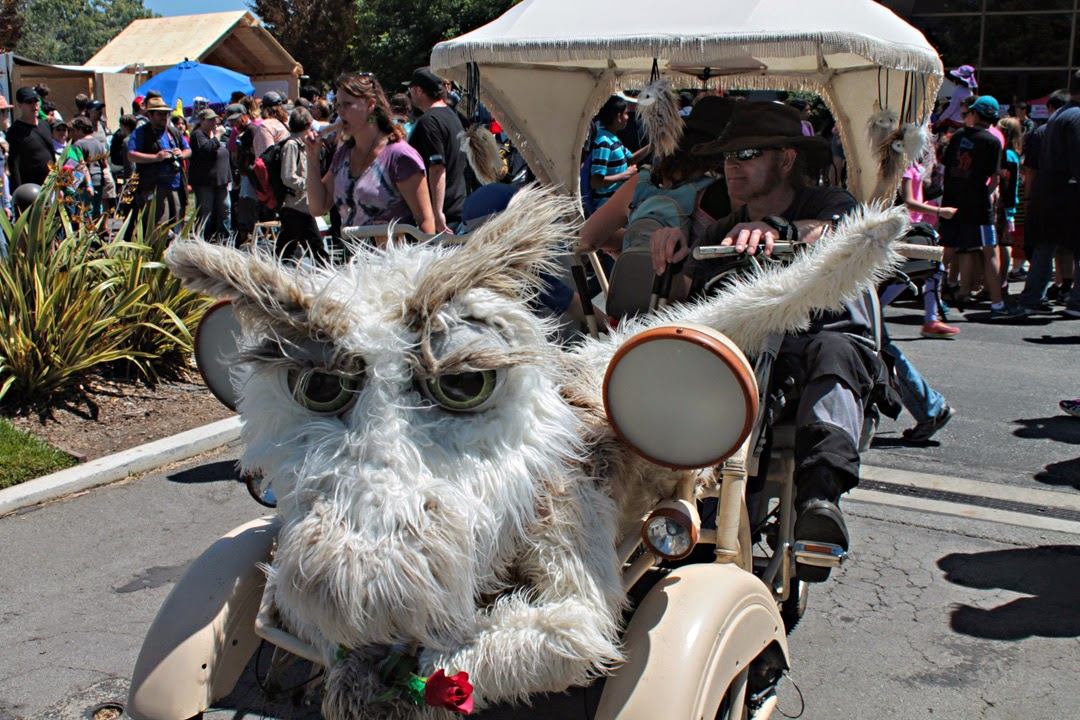 Fanciful beast vehicle is pedal around the faire
