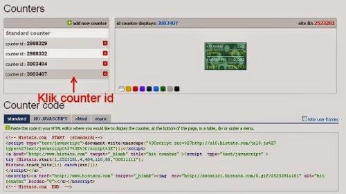 mengambil kode counter histats