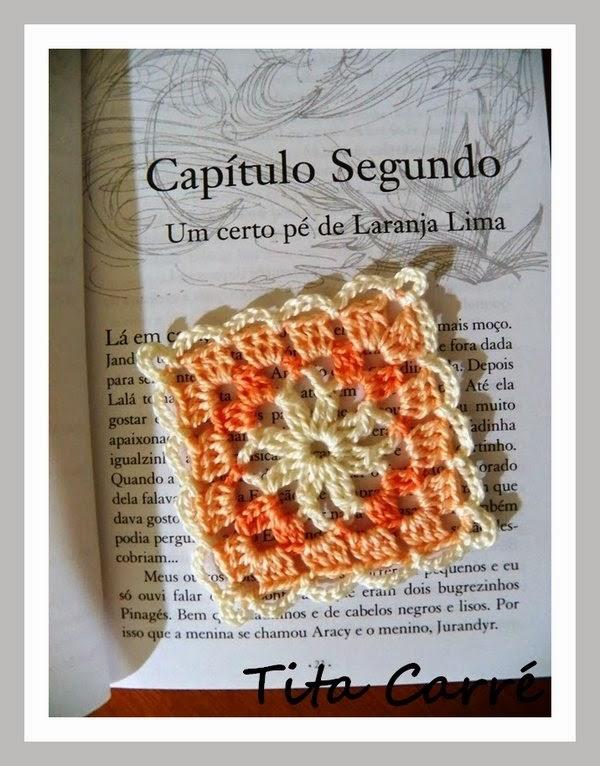 Square em crochet em tons de Chá com um pé de Laranja Lima