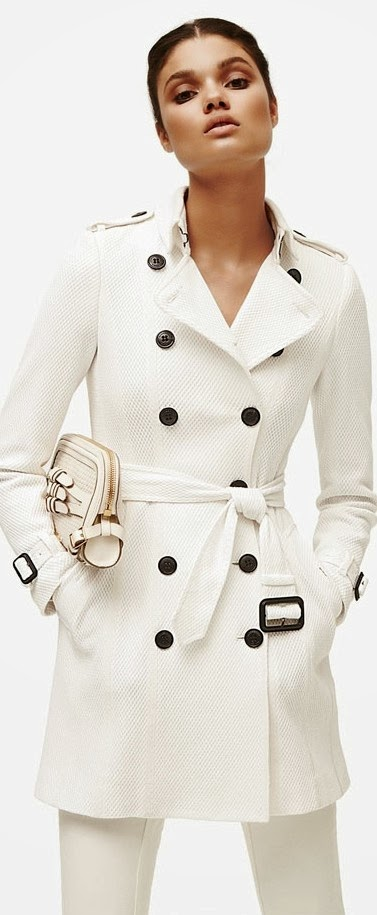 Beautiful Warm White Belt Coat and Cozy Bag