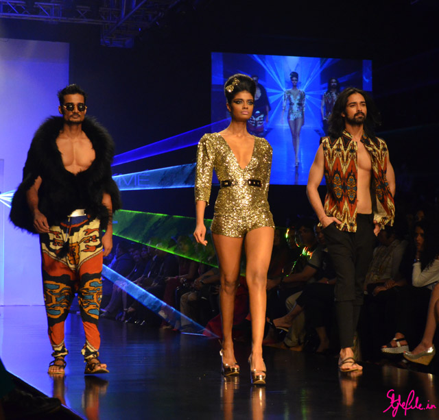 earthy tones abstract sequins fur menswear for pria kataria puri at lakme fashion week 2013